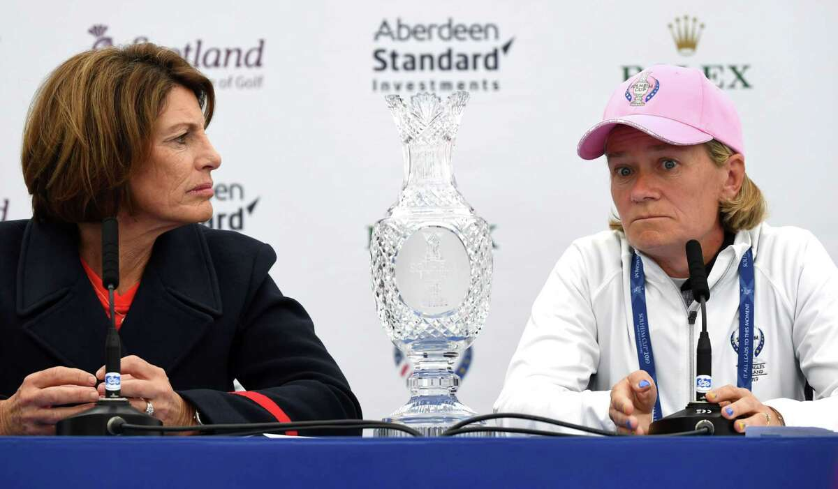 USA's team captain Juli Inkster (L) and Europe's team captain Catriona Matthew attend a press conference to annouce the pairings ahead of the start of The Solheim Cup golf tournament at the Gleneagles Hotel in Gleneagles, Scotland, on September 12, 2019. (Photo by ANDY BUCHANAN / AFP) / RESTRICTED TO EDITORIAL USEANDY BUCHANAN/AFP/Getty Images