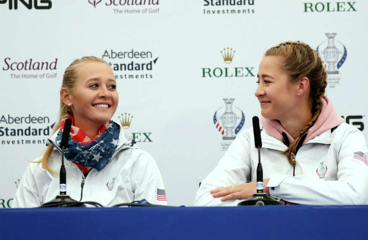 Sisters Jessica and Nelly Korda of the US during a press conference at Gleneagles, Auchterarder, Scotland, Thursday, Sept. 12, 2019. The Solheim cup runs from 13-15 Sept. (AP Photo/Peter Morrison)