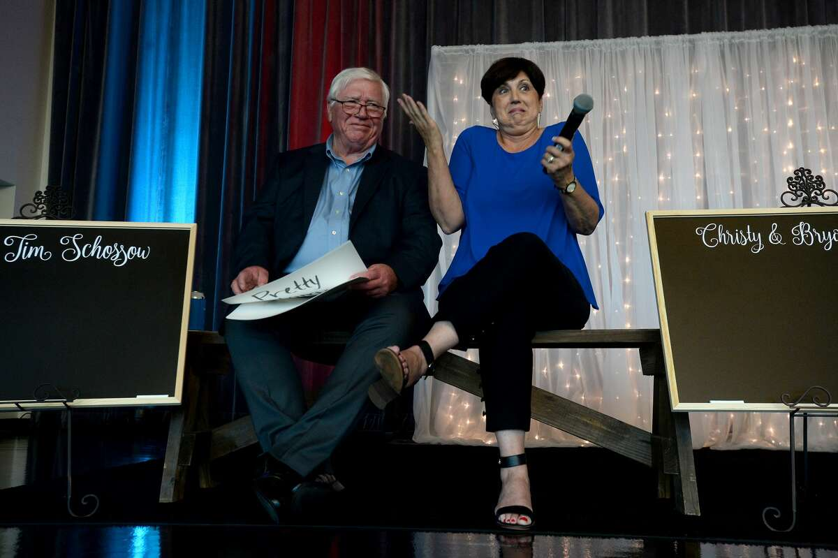 Ida Schossow reacts as she makeds a guess at her husband's answer while competing in Samaritan Counseling Center of Southeast Texas' 3rd annual Not So Newlywed Game fundraising event Thursday at the Event Centre. The evening included dinner and drinks while watching