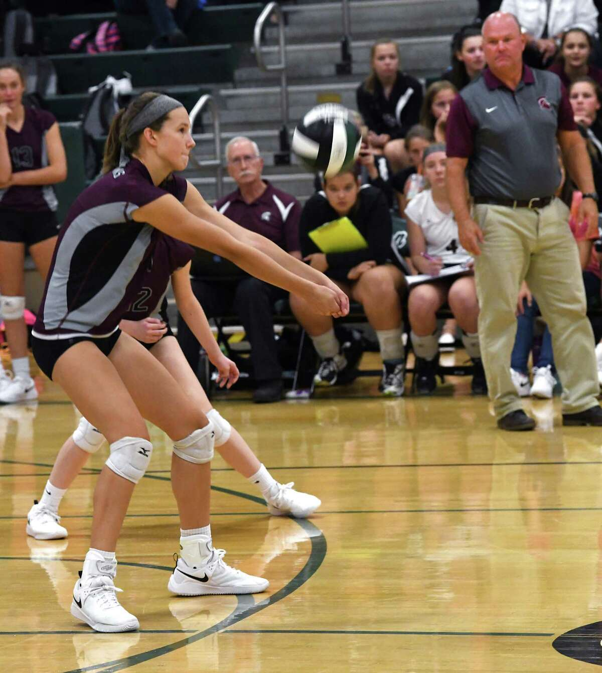 Burnt Hills' Carlie Rzeszotarski returns the ball during a volleyball match against Shenendehowa on Thursday, Sept. 12, 2019 in Clifton Park, N.Y. (Lori Van Buren/Times Union)