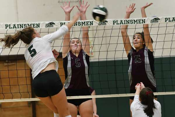 Shenendehowa's Annie Sala tries to get the ball past Burnt Hills's Morgan Bohlke, #5, and Callie Chevalier, #15, during a volleyball match on Thursday, Sept. 12, 2019 in Clifton Park, N.Y. (Lori Van Buren/Times Union)