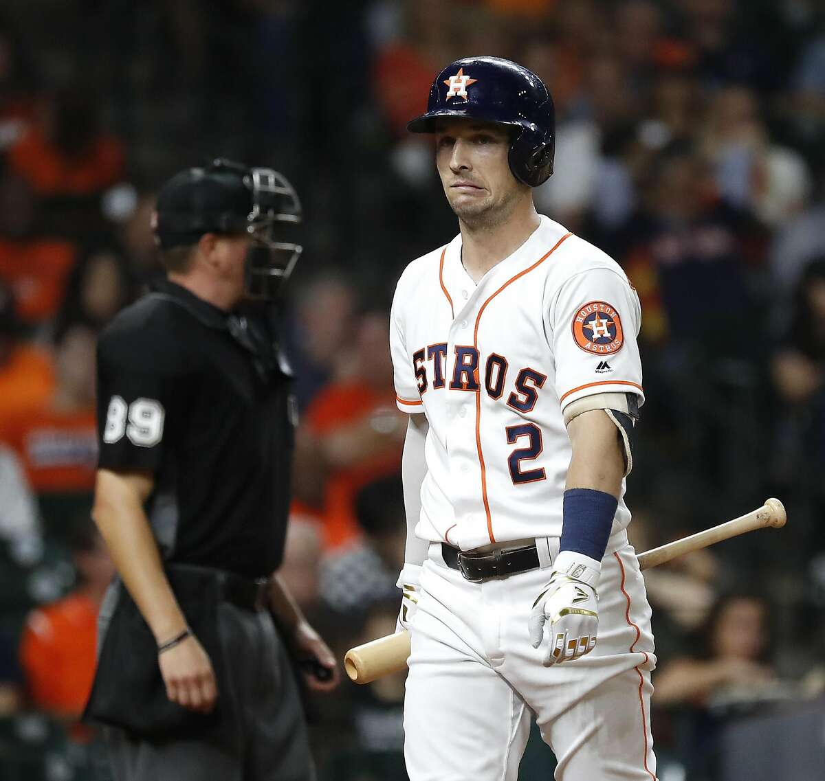 Houston Astros Alex Bregman (2) grimaces after striking out in the sixth inning of a MLB baseball game at Minute Maid Park, Thursday, Sept. 12, 2019, in Houston.