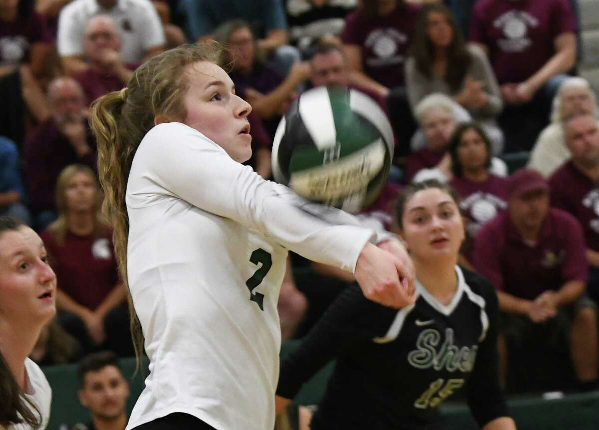 Shenendehowa's Shannon Osborne returns the ball during a volleyball match against Burnt Hills on Thursday, Sept. 12, 2019 in Clifton Park, N.Y. (Lori Van Buren/Times Union)