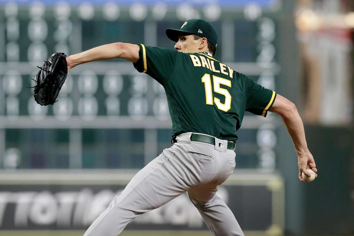 HOUSTON, TX - SEPTEMBER 12: Homer Bailey #15 of the Oakland Athletics pitches in the fifth inning against the Houston Astros at Minute Maid Park on September 12, 2019 in Houston, Texas. (Photo by Tim Warner/Getty Images)