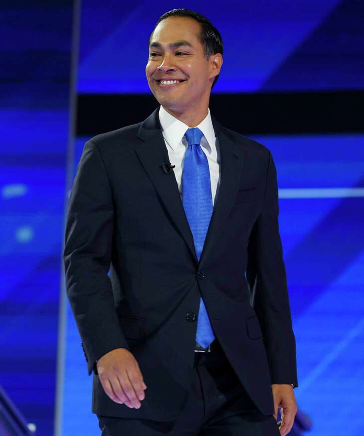 Democratic presidential candidate Former Housing Sec. Julian Castro takes the stage for the Democratic Debate at Texas Southern University's Health & Physical Education Center Thursday, Sept. 12, 2019, in Houston.