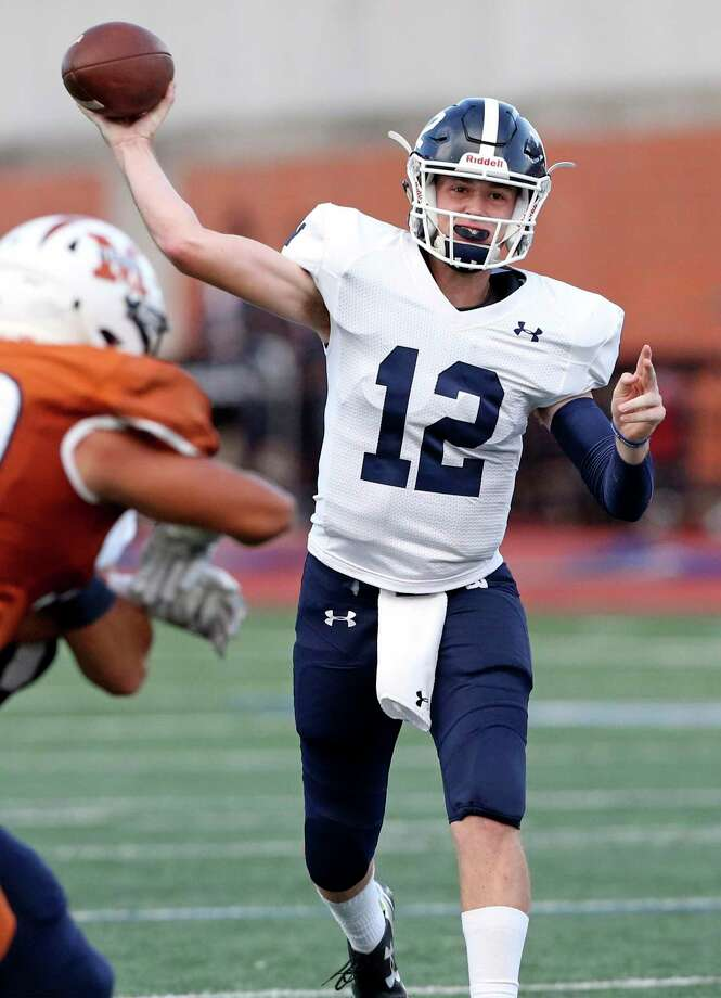 Luke Gombert throws for the Rangers as Madison hosts Smithson Valley at Heroes Stadium on September 12, 2019. Photo: Tom Reel, Staff / Staff Photographer / 2019 SAN ANTONIO EXPRESS-NEWS
