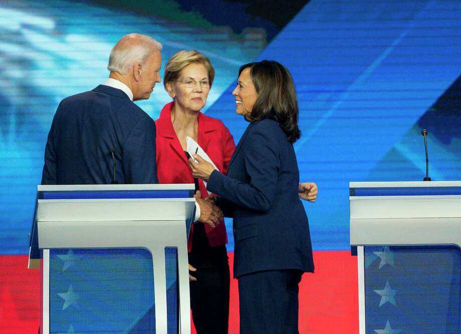 Democratic presidential candidates former Vice President Joe Biden, Sen. Elizabeth Warren, D-Mass., and Sen. Kamala Harris, D-Calif. Speak following the Democratic presidential debate inside Texas Southern University's Health & PE Arena in Houston, Thursday, Sept. 12, 2019. Photo: Elizabeth Conley, Houston Chronicle / Staff Photographer / © 2019 Elizabeth Conley / Houston Chronicle