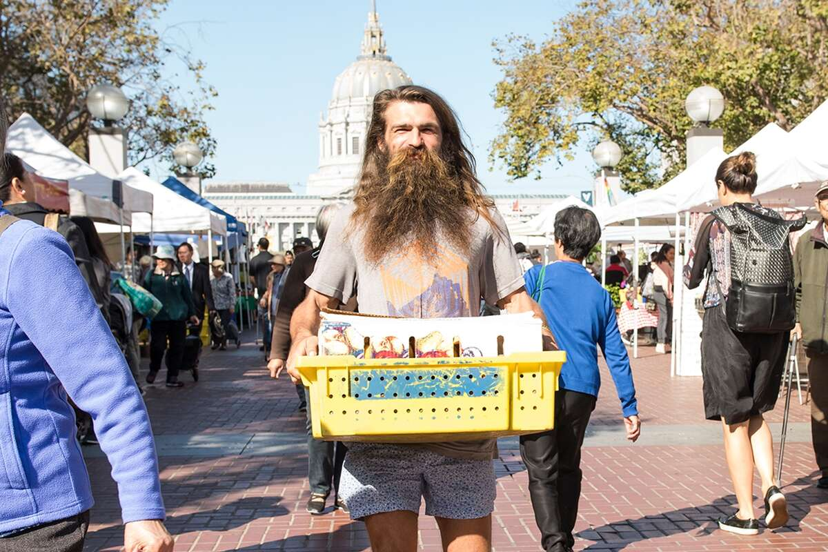 Konstantin starts off his workday at Heart of the City Farmers' Market (just north of the Civic Center BART station).