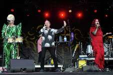 Cindy Wilson, Fred Schneider and Kate Pierson of the B-52's perform in Texas in May.