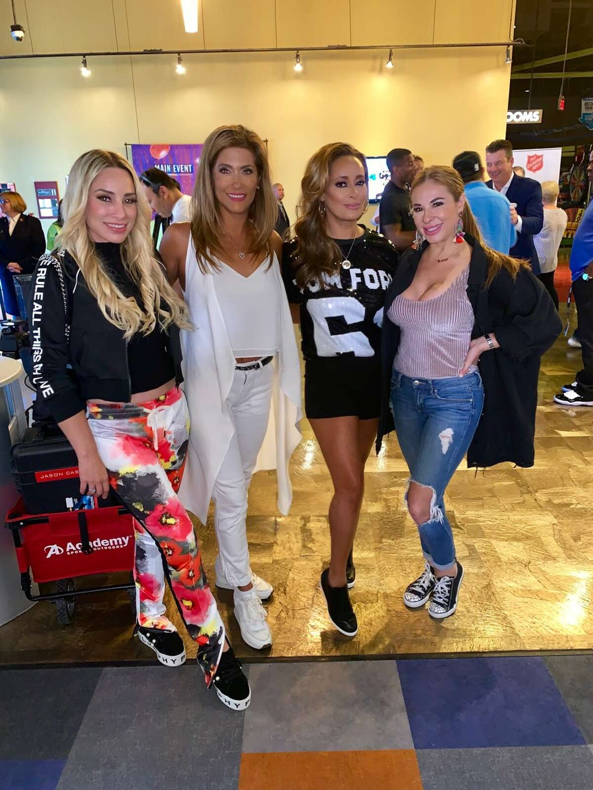 """The local reality cast of Bravo's """"Texicanas"""" reunites with Posh Boss producers Sarah Lucero and Karen Grace. Pictured: Penny Ayarzagoitia and Mayra Farret."""