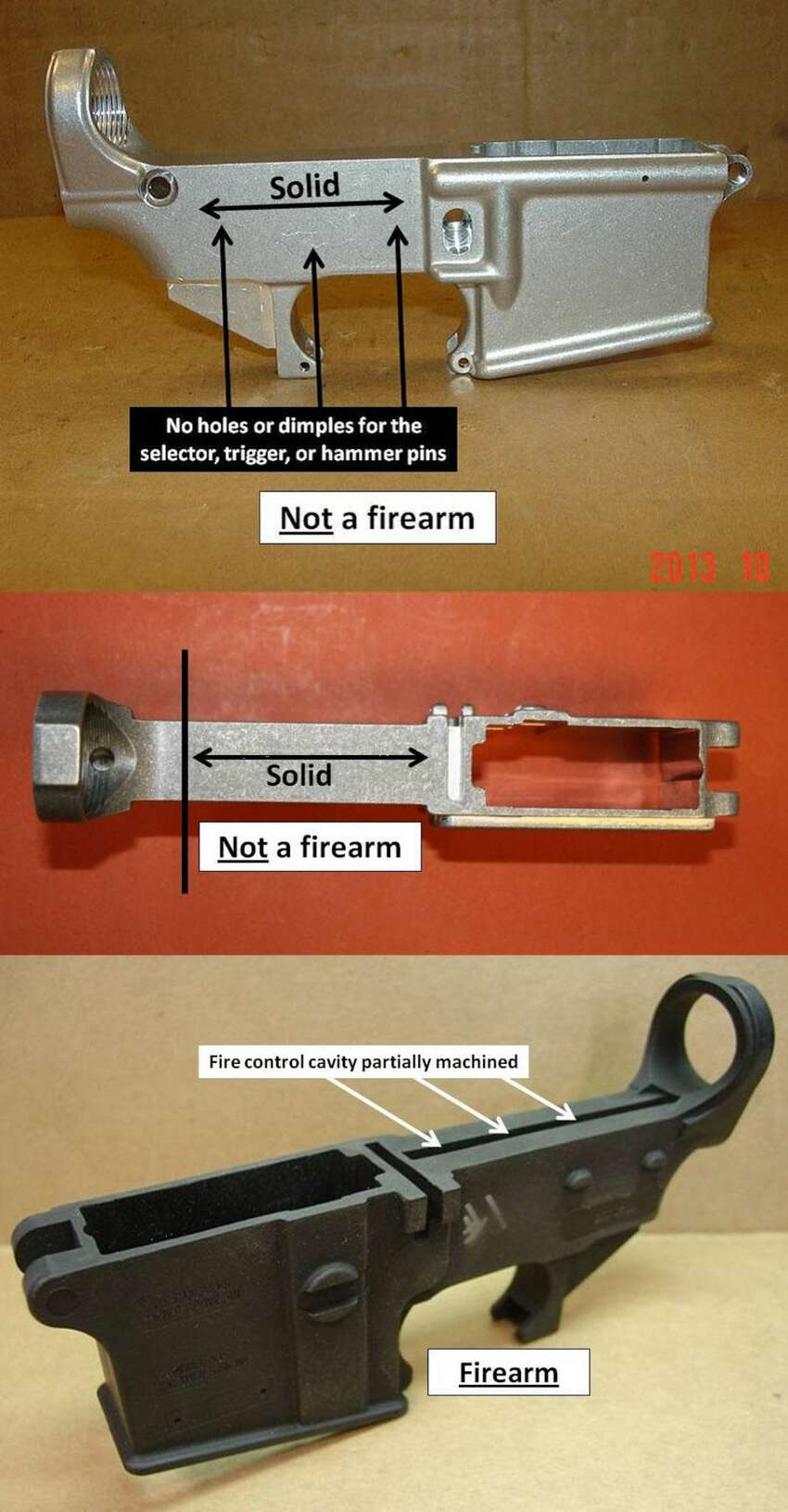 This image from the Bureau of Alcohol, Tobacco, Firearms and Explosives shows examples of a unfinished guns that are legally not considered a firearm, and one that would be considered a firearm.