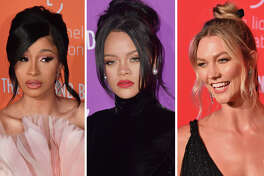 Cardi B, Rihanna and Karlie Kloss are pictured in this composite photo.