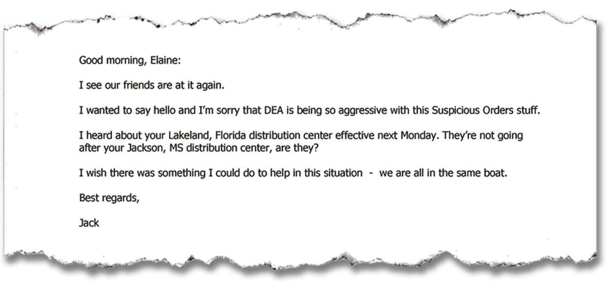 An email from Jack Crowley of Purdue Pharma to a counterpart at Cardinal Health.