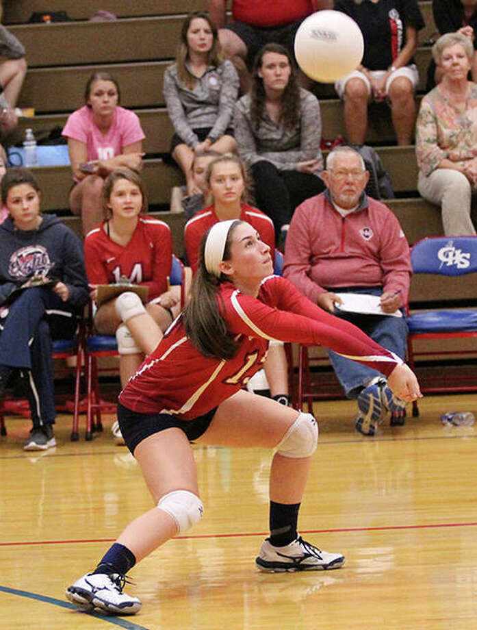 Carlinville's Sydney Bowman, shown in a match last season, had 12 digs Thursday night in the Cavaliers' two-set SCC sweep of the host Shells at Milazzo Gym in Roxana. Photo: Greg Shashack / The Telegraph
