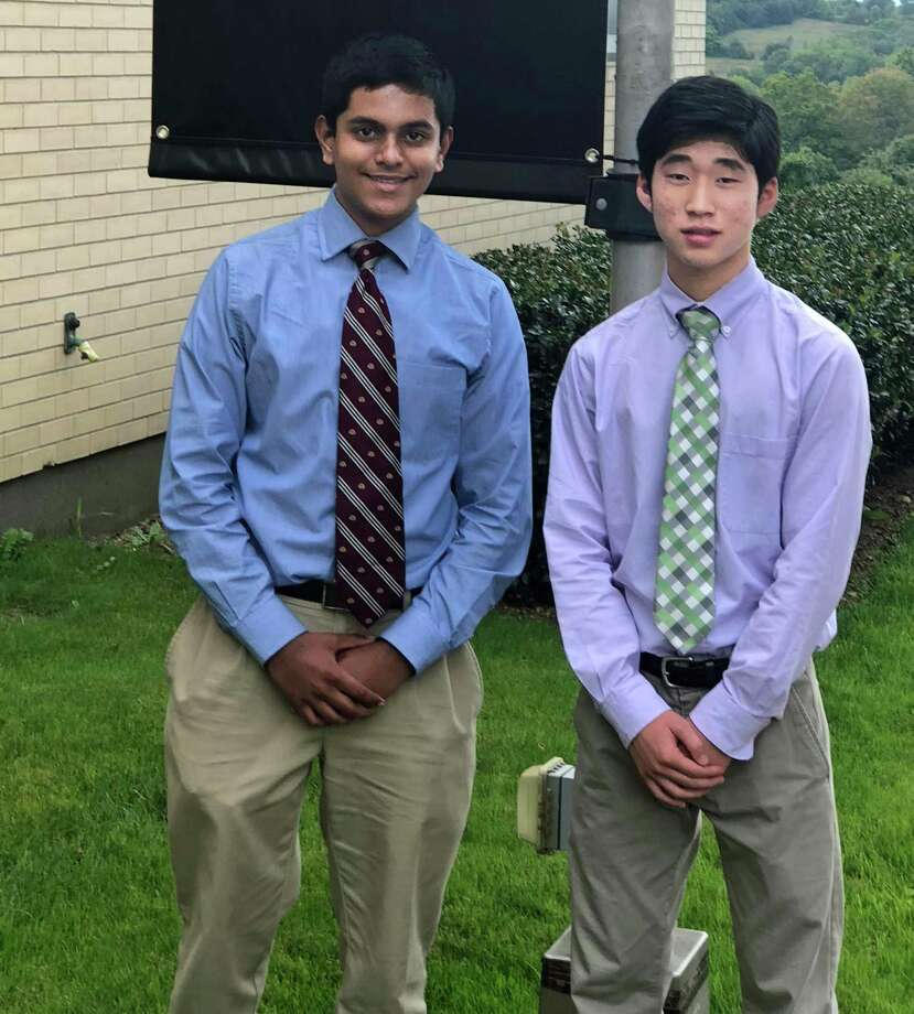 Middletown Xavier High School seniors, from left, Akshay Khunte and Hyun Lee, are National Merit Scholarship Program semifinalists. Photo: Contributed Photo