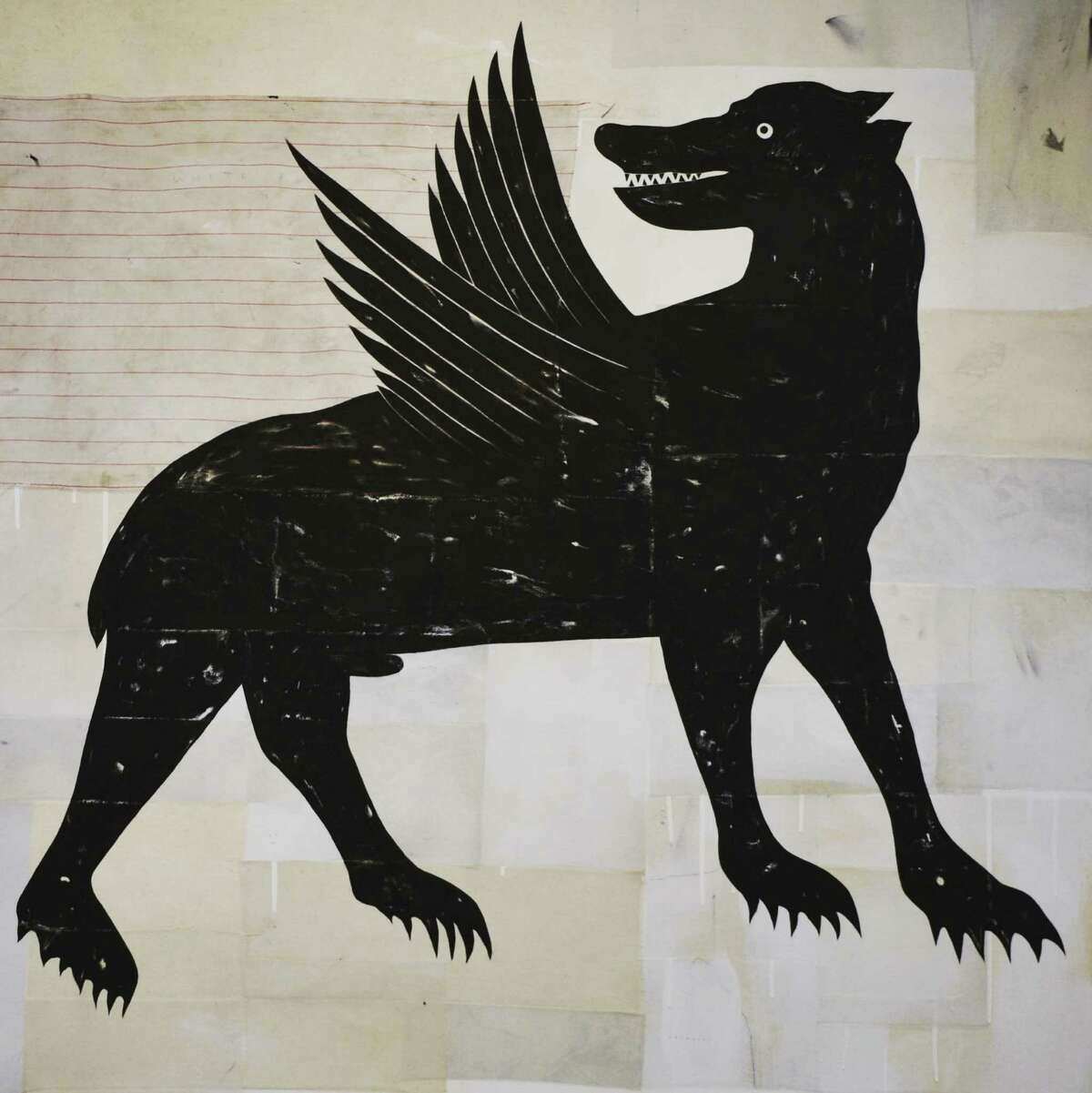 """""""Black Shuck,"""" a mixed-media work, is in Matt Messinger's show """"Bestiary,"""" up through Oct. 5 at Devin Borden Gallery."""