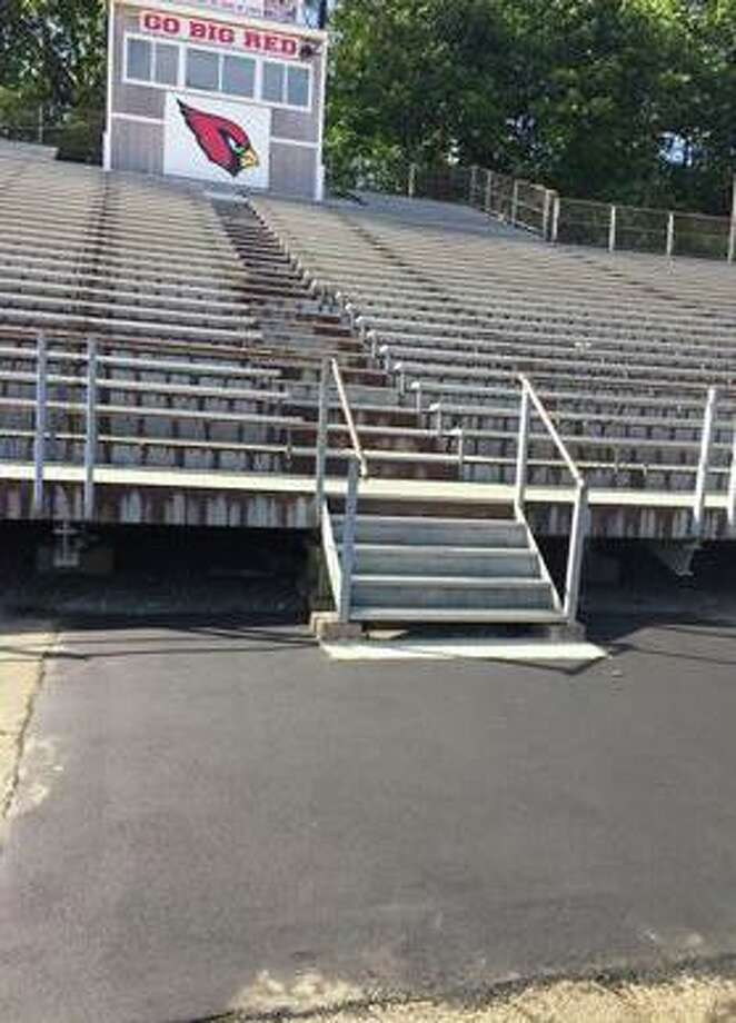 The bleachers are open and ready for the first football game of the season at Cardinal Stadium at Greenwich High School in fall 2019. The bleachers were shored up thanks to a grant from the Greenwich Athletic Foundation. Photo: File / Greenwich Athletic Foundation /