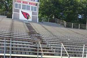 The bleachers are open and ready for the first football game of the season at Cardinal Stadium at Greenwich High School. The bleachers were shored up thanks to a grant from the Greenwich Athletic Foundation.