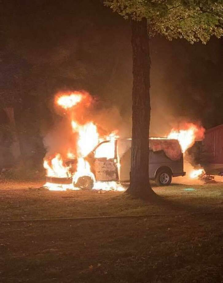 A van engulfed in flames outside a Main Street North residence Sept. 12, 2019. Photo: Facebook / Southbury Fire Department