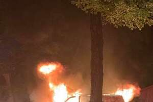 A van engulfed in flames outside a Main Street North residence Sept. 12, 2019.