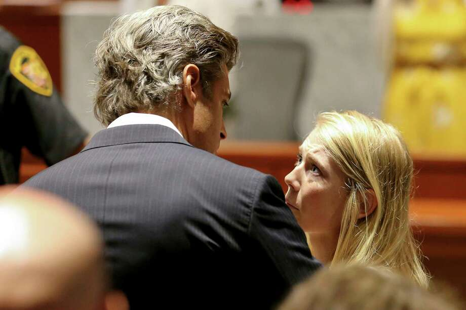 Brooke Skylar Richardson, right, talks to her attorney Charles M. Rittgers after her sentencing hearing, Friday, Sept. 13, 2019, in Lebanon, Ohio. Richardson, acquitted the day before of killing her newborn but convicted of corpse abuse, was sentenced to three years' probation, was sentenced to three years' probation.  (Kareem Elgazzar/The Cincinnati Enquirer via AP, Pool) Photo: Kareem Elgazzar, AP / Kareem Elgazzar, The Cincinnati Enquirer