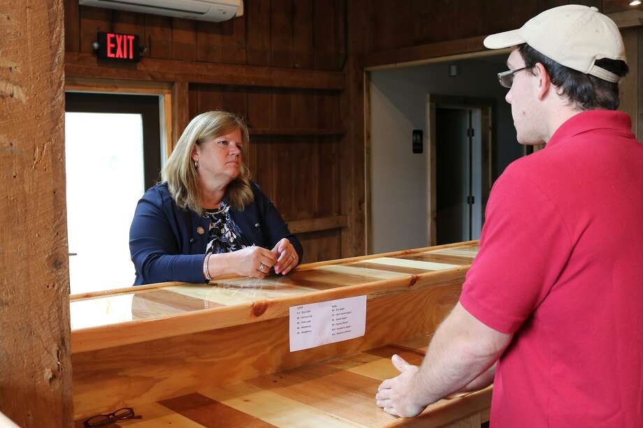 State Rep. Irene Haines visited the Staehly winery recently in East Haddam. Photo: Contributed Photo