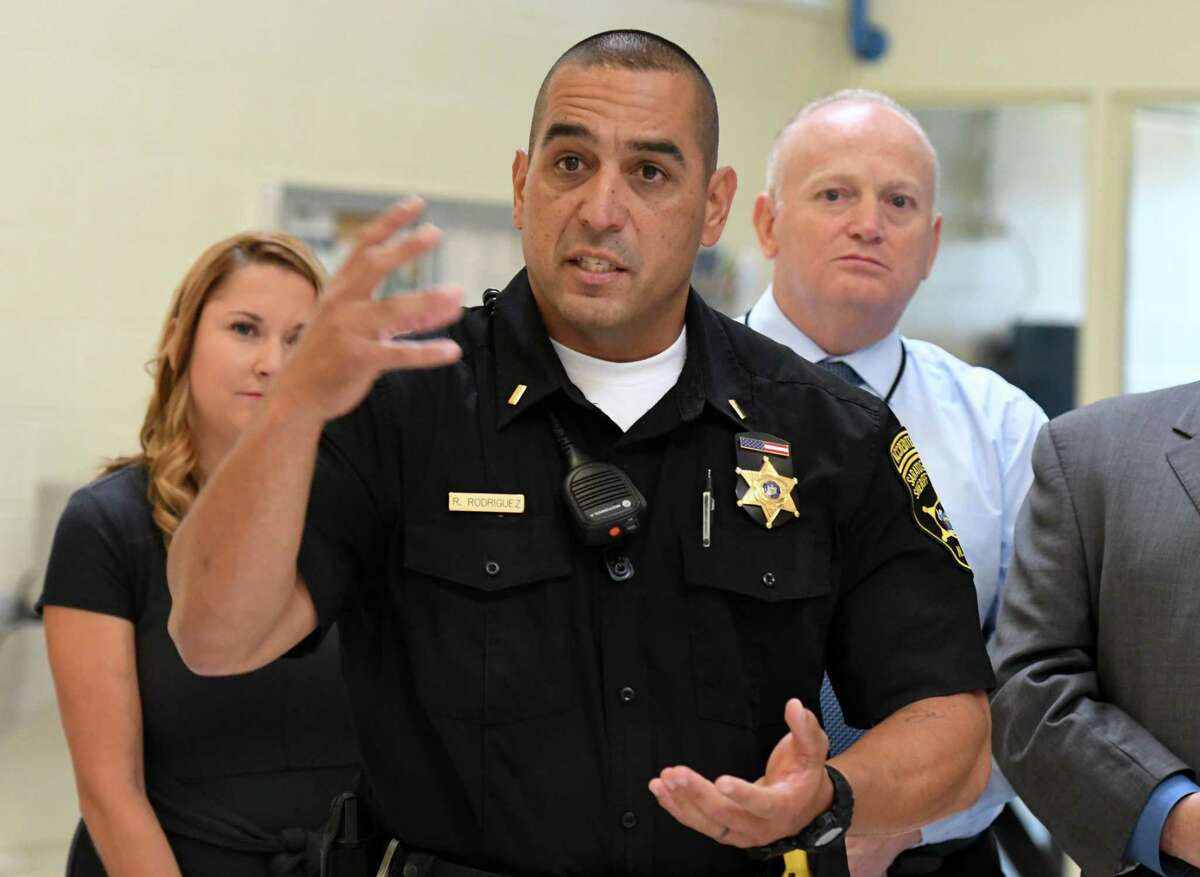 Lt. Ray Rodriquez of the Saratoga County Sheriff's Department speaks during a press conference to announce a newly renovated and expanded jail unit reserved for veteran inmates and addiction services at the Saratoga County Jail on Friday, Sept.13, 2019, in Ballston Spa, N.Y. (Will Waldron/Times Union)