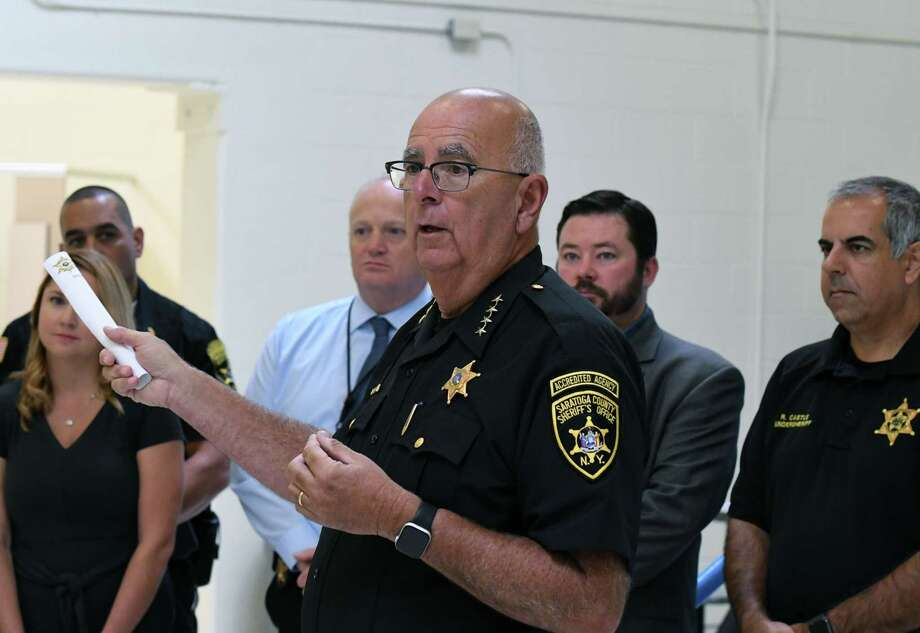Saratoga County Sheriff Michael Zurlo holds a press conference inside a newly renovated and expanded jail unit reserved for veteran inmates and addiction services at the Saratoga County Jail on Friday, Sept.13, 2019, in Ballston Spa, N.Y.  (Will Waldron/Times Union) Photo: Will Waldron, Albany Times Union / 20047799A