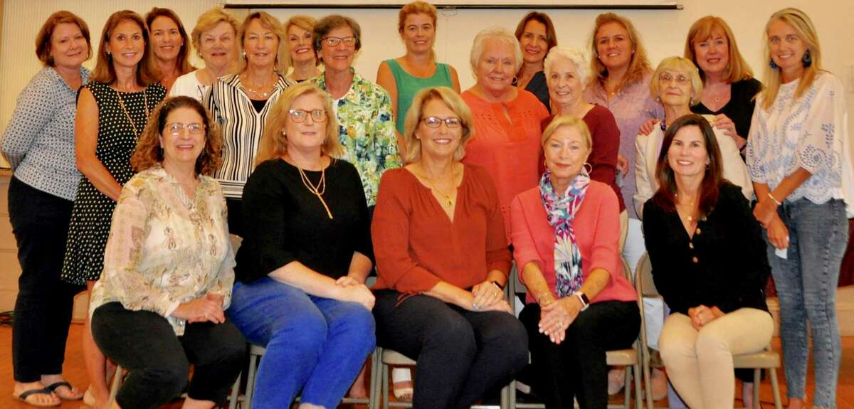 Members of the Wilton Garden Club gathered for their first meeting of the 2019-2020 year on Sept. 9. Seated are members of the executive board, from left, Lisa Caswell, Old Town Hall treasurer; Jennifer Davatzes, vice president; Nancy Greeley, president; Sherry Johnson, secretary and Ann Margaret Mannix, treasurer.