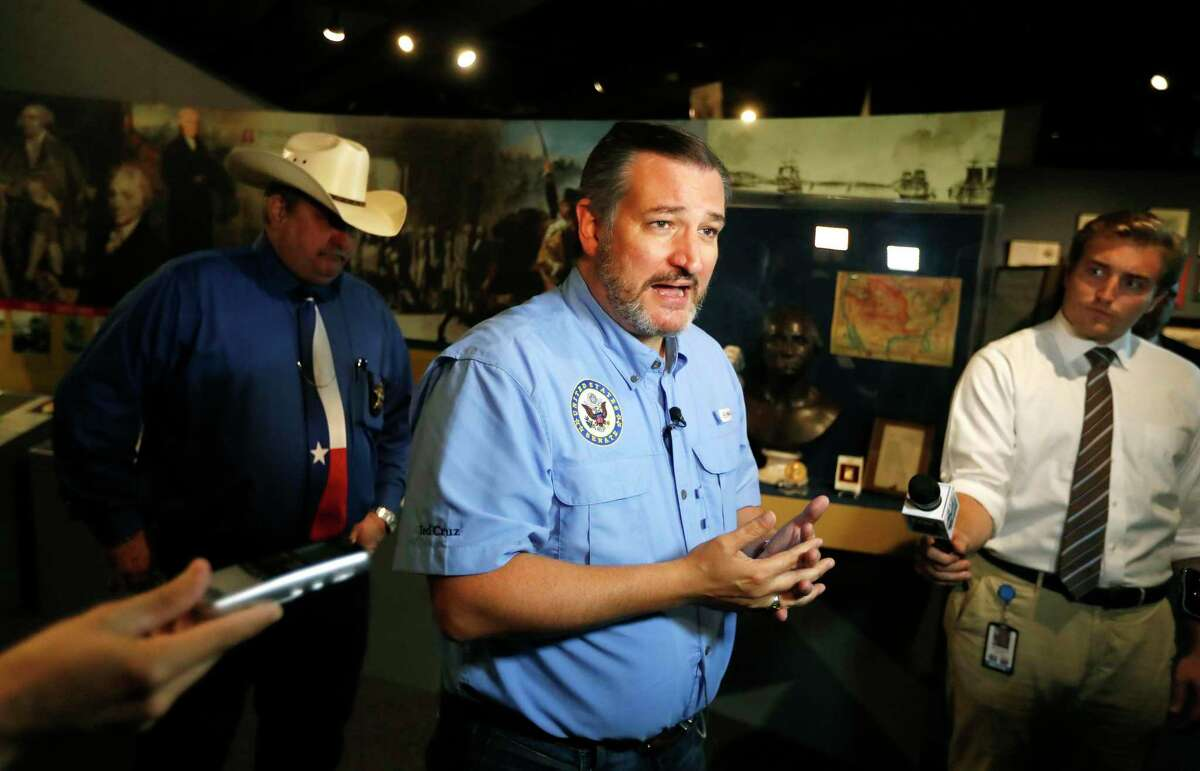 U.S. Sen. Ted Cruz, R-Texas, talks to the media after meeting with local leaders and law enforcement Wednesday, Sept. 4, 2019, at the John Ben Shepperd Public Leadership Institute in Odessa, Texas. (Mark Rogers/Odessa American via AP)