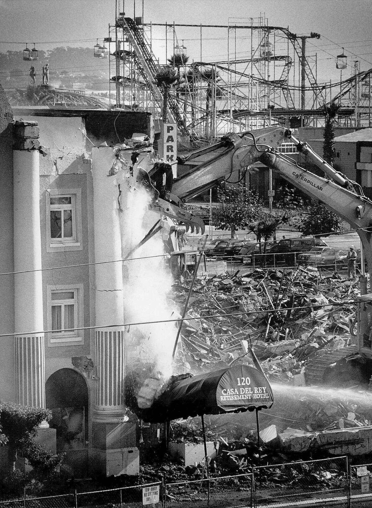 The Casa Del Rey retirement hotel in Santa, Cruz was demolished after damage suffered in the Loma Prieta earthquake, October 17, 1989.