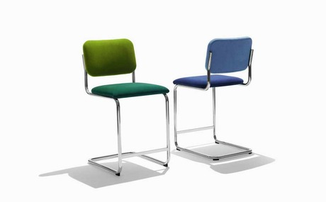 Knoll's new bar and counter stool version of the Cesca chair start at $866.