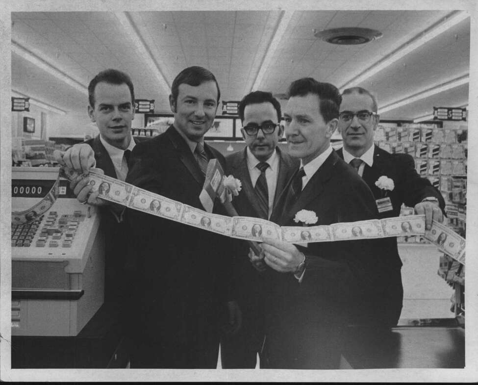 New York - Price Chopper discount store opens - John Douglas, Assistant Manager; Richard Lyons, District Manager; John Eno, Meat Manager; Al Dwyer, Store Manager; Joseph Pietrosanto, Produce Manager. November 1970 (Roberta Smith/Times Union Archive)