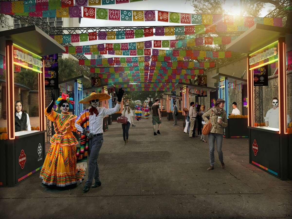 Renderings of the Día de los Muertos festival coming to San Antonio this November.