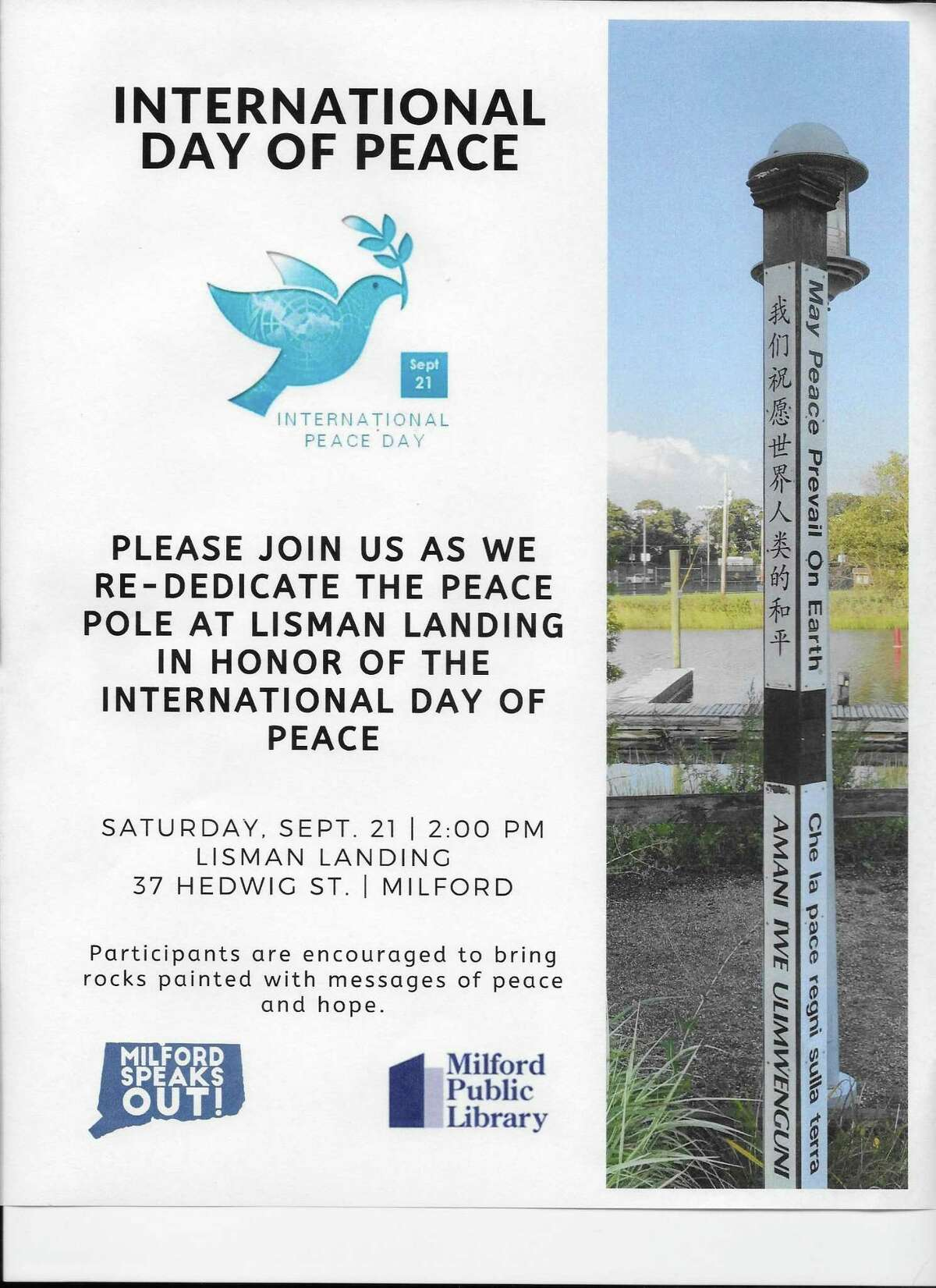 Milford Speaks Out (MSO), in partnership with the Milford Public Library, will host a World Peace Day event on Saturday, Sept. 21