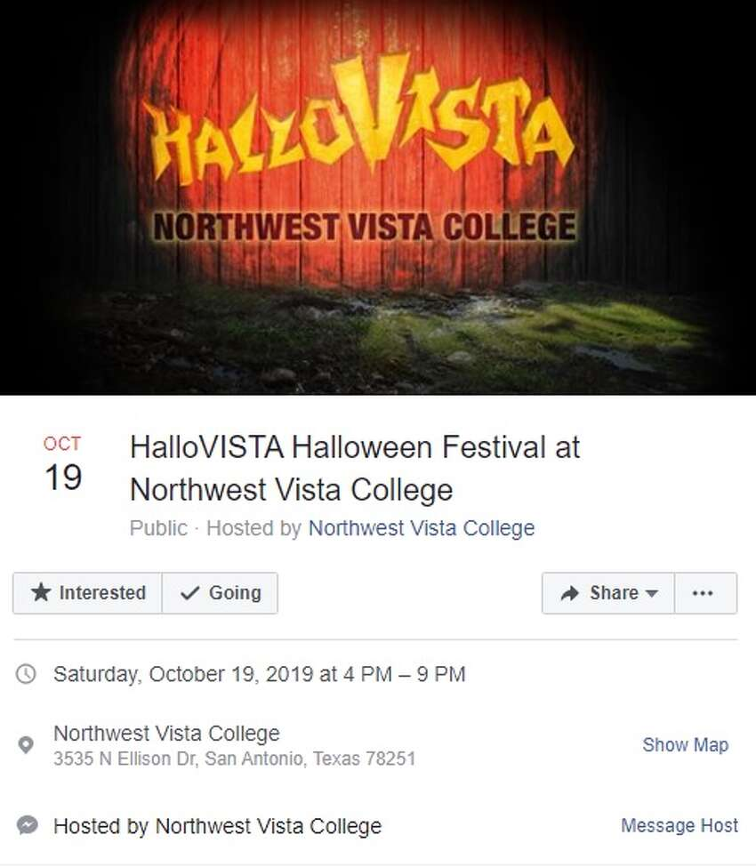 HalloVISTA Halloween Festival will be from 4 to 9 p.m. on Saturday, Oct. 19 at Northwest Vista College, 3535 North Ellison Drive. For more information, click here.