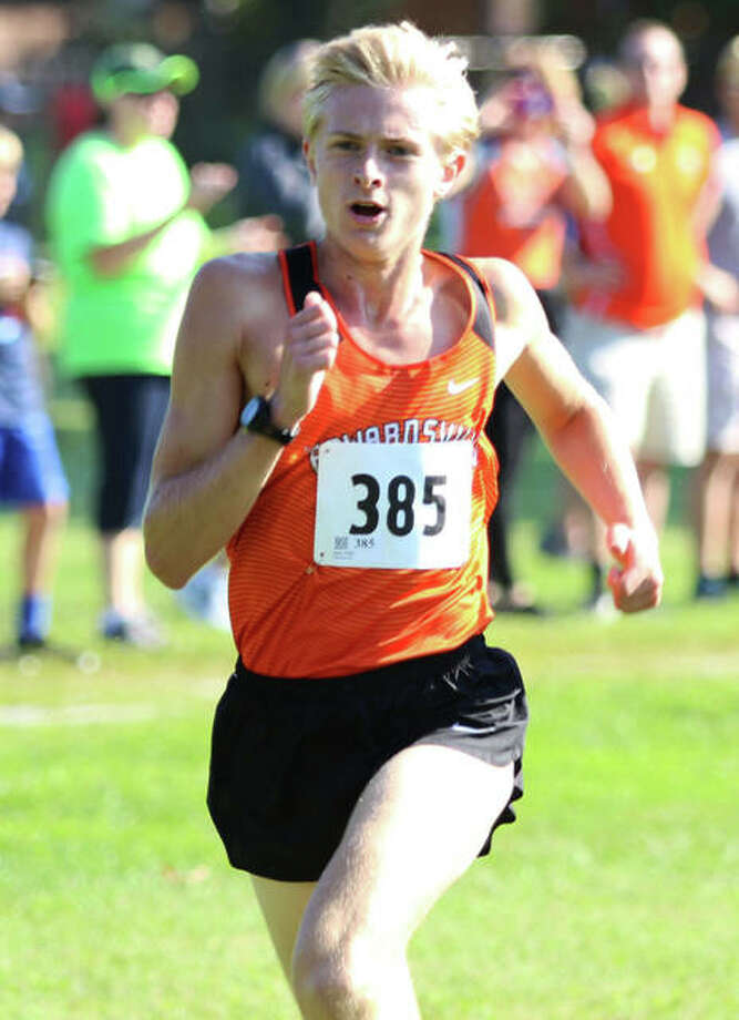 Edwardsville's Jack Pifer runs near the finish of the Granite City Invite last Saturday at Wilson Park. Pifer won the race and heads to Peoria with the Tigers on Saturday for Peoria Woodruff's First To The Finish Invite at Detweiller Park. Photo: Greg Shashack / Hearst Illinois