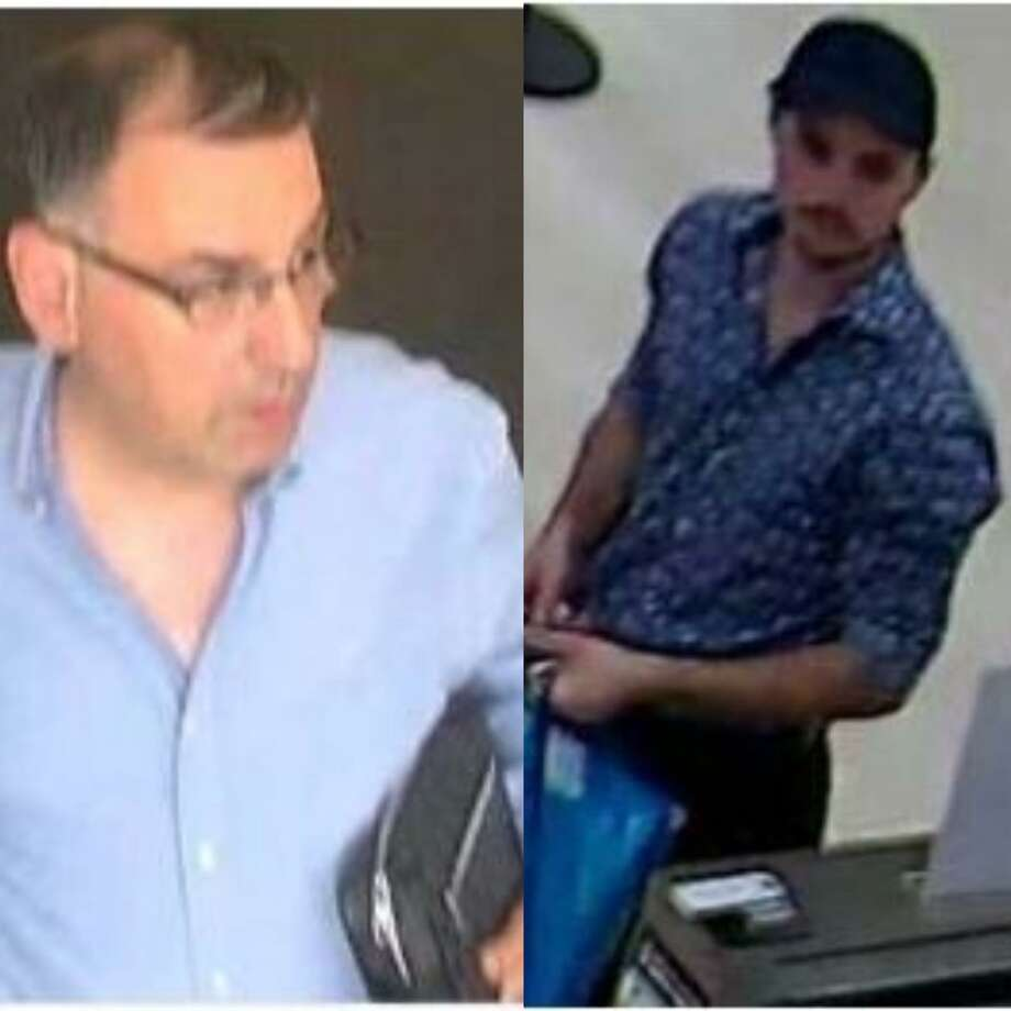 Two men are seen in surveillance footage stills. Authorities say they stole credit cards from a gym in The Woodlands and spent thousands of dollars off it. Photo: Courtesy Of The Montgomery County Sheriff's Office