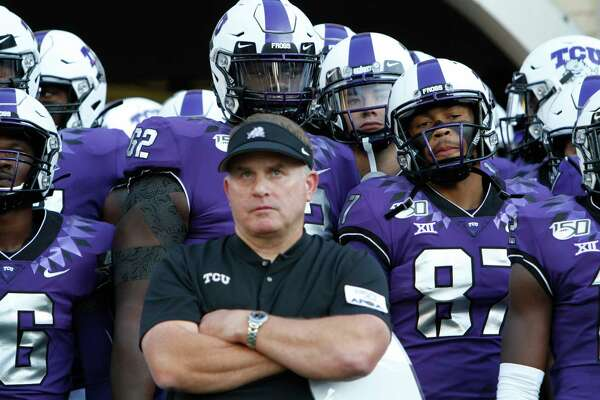 TCU coach Gary Patterson and the players wait in the tunnel before taking the field for an NCAA college football game against Arkansas-Pine Bluff on Saturday, Aug. 31, 2019, in Fort Worth, Texas. (David Kent/Star-Telegram via AP)