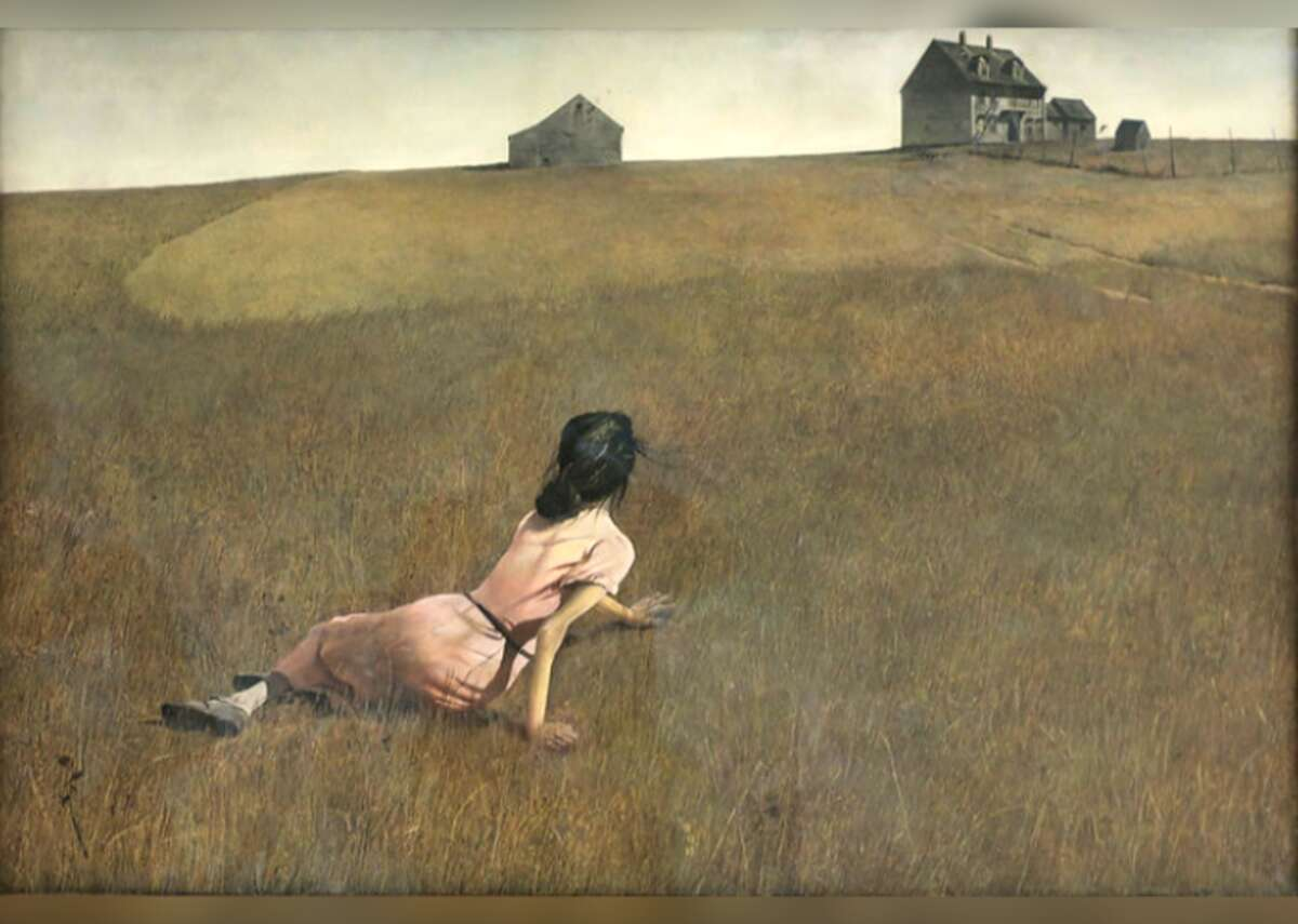 """Christina's World - Artist: Andrew Wyeth - Year: 1948 """"Christina's World"""" continues to fascinate more than 70 years after it was first painted. The faceless woman lying on the ground was Anna Christina Olson, the neighbor and muse of Pennsylvania artist Andrew Wyeth. While the painting has all the hallmarks of a pastoral, Olson's pose is not one of romantic languor; she suffered from a muscle-wasting disorder, possibly Charcot-Marie Tooth disease, and was known to drag herself across the family homestead."""