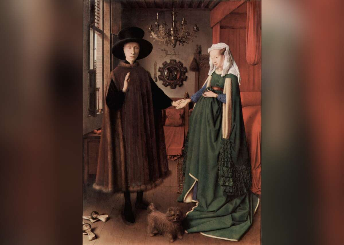 Arnolfini Portrait - Artist: Jan van Eyck - Year: 1434 Painted by Dutch master Jan van Eyck, this early Netherlandish panel painting is shrouded in symbolism. The elegantly dressed couple are thought to be Giovanni di Nicolao di Arnolfini, and his wife, Costanza Trenta, wealthy Italians living in Bruges. The unusual composition begs several questions. Does the painting celebratethe couple's wedding, or commemorate some other event, such as a shrewdly negotiated marriage contract? Was the bride pregnant, or simply dressed in the latest fashion? And what are the mysterious figures depicted in the convex mirror? The unorthodox placement of van Eyck's signature directly above it suggests one of the men may be the artist himself.
