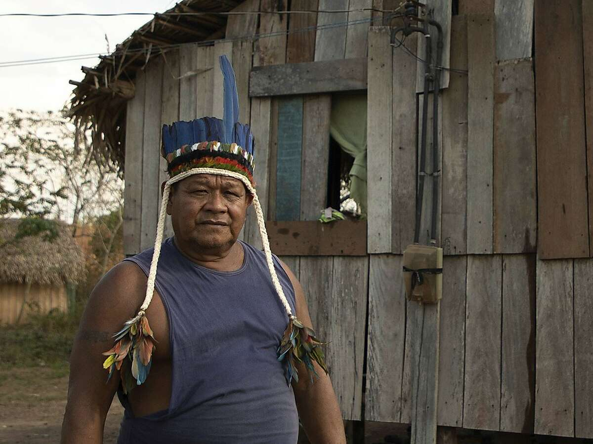 """HUMAIT�, AM - 10.09.2019: FUNAI PARTICIPA DE ENCONTRO COM IND�GENAS - Jiahui Chieftain Sebasti�o shows areas of his village used for planting food. The Cacique said he advocated the use of small-scale burning for what they call """"mo"""" but said large-scale burning harms life in rivers forests. Photo taken on Tuesday afternoon (on (10), in the southern Amazon region. (Photo by Bruno Rocha/Fotoarena/Sipa USA)(Sipa via AP Images)"""