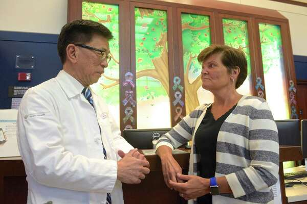 Dr Linus Chang, a surgical gynecologic oncologist, and Dr Margo Shoup, chairman of the medical network's cancer services department, talk about Danbury and Norwalk hospitals being approved as sites for new clinical trials. Tuesday, September 3, 2019, in Danbury, Conn.