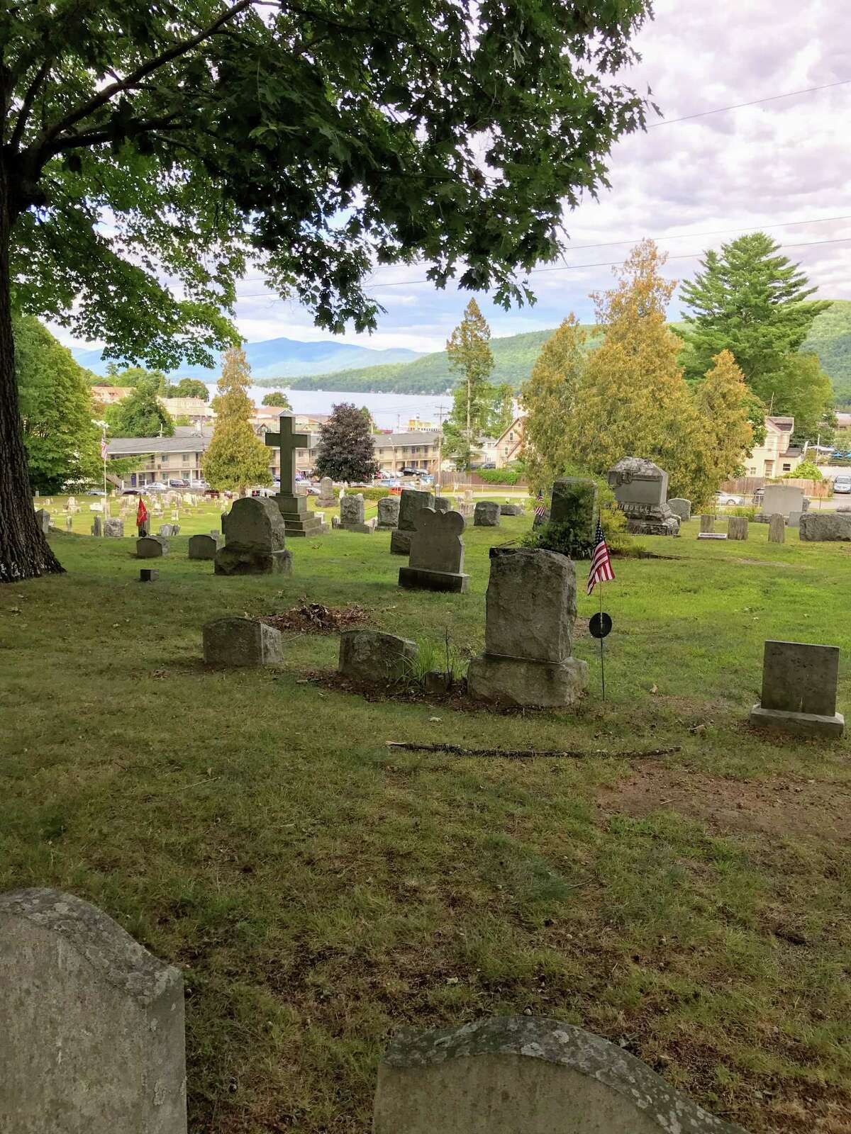 The church cemetery of Sacred Heart Church in Lake George is in the foreground of Mike Novack's Aug. 31 photograph. Lake George itself is in the background.