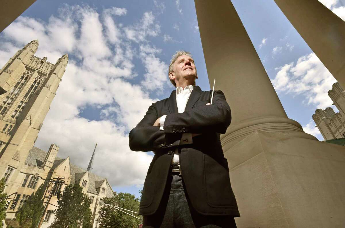 New Haven, Connecticut - Friday, September 13, 2019: Alasdair Neale, music director (CQ) and conductor of the New Haven Symphony Orchestra outside Woolsey Hall at Yale University.