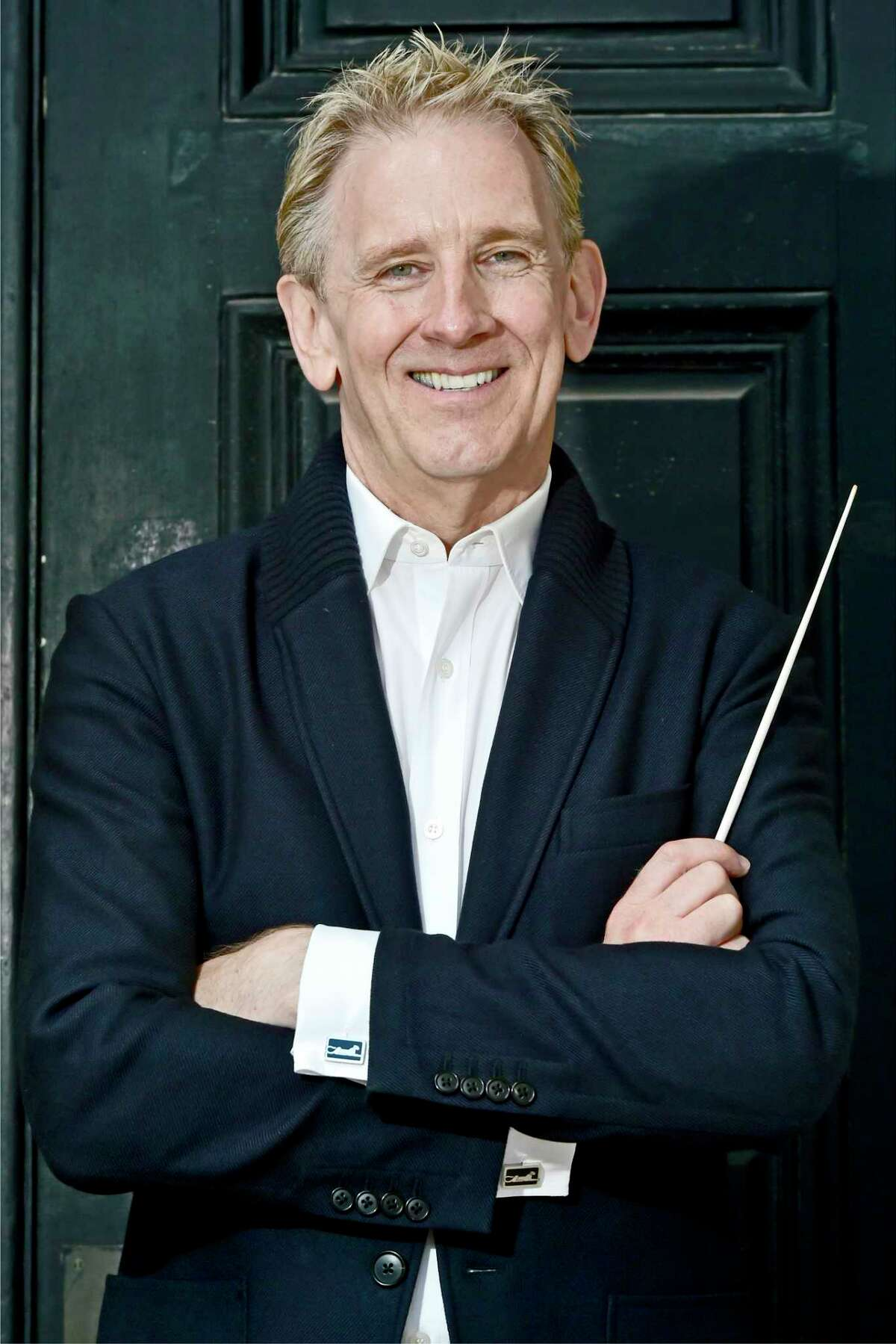 New Haven, Connecticut - Friday, September 13, 2019: Alasdair Neale, music director (CQ) and conductor of the New Haven Symphony Orchestraoutside Woolsey Hall at Yale University.