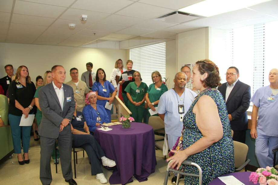 Patient Aleisha Boutte, just one week post-op, talks about her experience with CHRISTUS Southeast Texas St. Elizabeth 'Excellence in the trial run of the 'Joint Replacement' program at the hospital's official launch of the program. Photo: CHRISTUS Southeast Texas St. Elizabeth