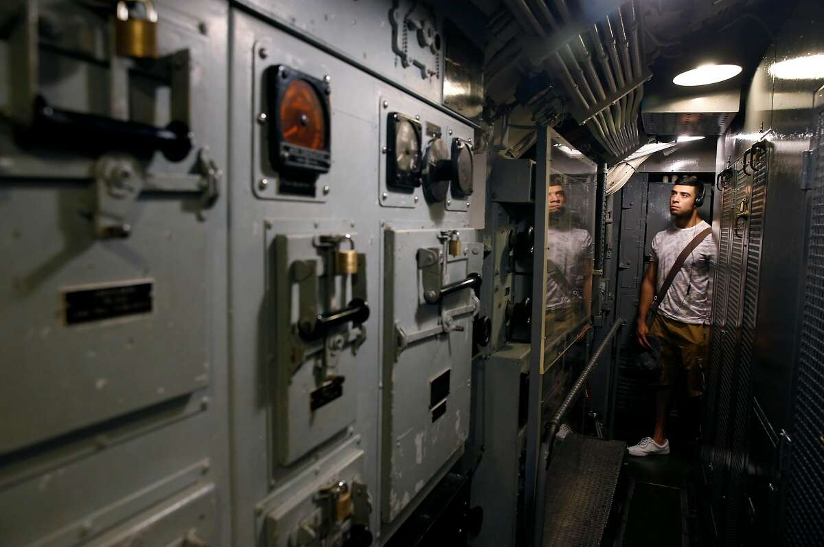 A visitor tours the World War II submarine USS Pampanito in San Francisco, Calif. on Friday, Sept. 13, 2019. The Pampanito rescued 73 prisoners of war left for dead after the Japanese ship they were aboard was torpedoed 75-years ago.