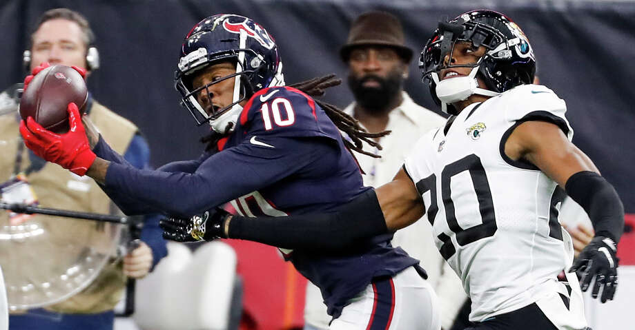 PHOTOS: Best Texans home openers Houston Texans wide receiver DeAndre Hopkins (10) beats Jacksonville Jaguars cornerback Jalen Ramsey (20) for a 43-yard reception and a first down during the fourth quarter of an NFL football game at NRG Stadium on Sunday, Dec. 30, 2018, in Houston. Browse through the photos to look back on the most memorable home openers in Texans history. Photo: Brett Coomer/Staff Photographer / © 2018 Houston Chronicle