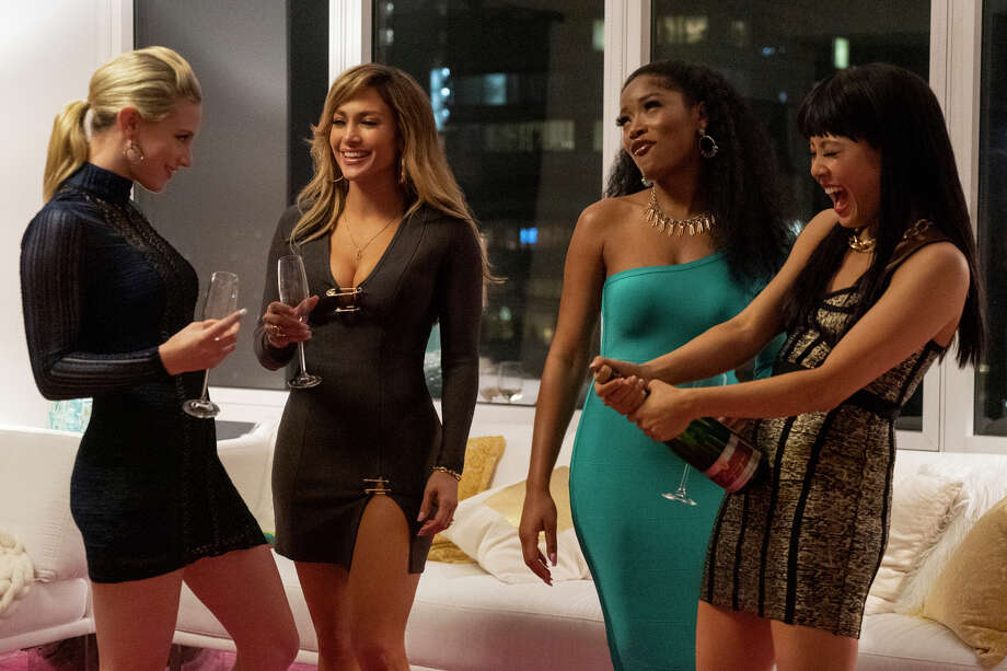 "This image released by STXfilms shows, from left, Lili Reinhart, Jennifer Lopez, Keke Palmer, and Constance Wu in a scene from ""Hustlers,"" in theaters on Sept. 13. (Barbara Nitke/STXfilms via AP) Photo: Barbara Nitke / Motion Picture Artwork © 2019 STX Financing, LLC. All Rights Res"